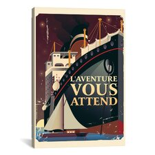 'L'aventure Vous Attend' by American Flat Vintage Advertisment on Canvas