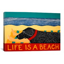 Life Is a Beach Black Canvas Print Wall Art