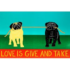 Love Is Give and Take Black Canvas Print Wall Art