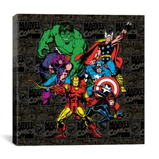 Marvel Comics Character Avengers Lineup Comic Logo Graphic Art on Canvas