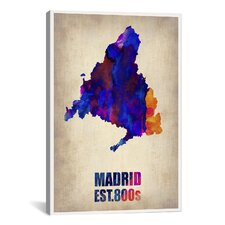 Madrid Watercolor Map by Naxart Graphic Art on Canvas