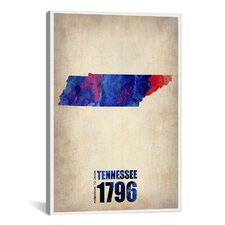 Tennessee Watercolor Map by Naxart Graphic Art on Canvas