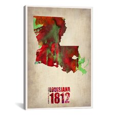 Louisiana Watercolor Map by Naxart Graphic Art on Canvas