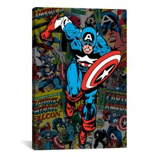 Marvel Comics Captain America Cover Collage Graphic Art on Canvas