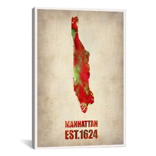 Manhattan Watercolor Map by Naxart Graphic Art on Canvas