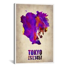 Tokyo Watercolor Map II by Naxart Graphic Art on Canvas