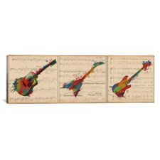 Music Instrument Panoramic Graphic Art on Canvas
