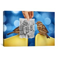 'Pencil with Camera 66 - Electro Birds' by Ben Heine Photographic Print on Canvas