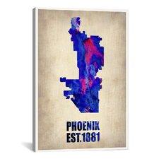 Phoenix Watercolor Map Graphic Art on Canvas