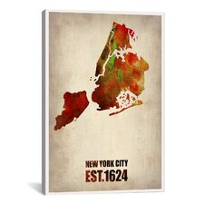 New York City Watercolor Map II by Naxart Graphic Art on Canvas
