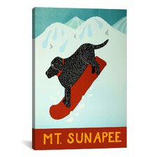 Mt. Sunapee Snowboard Black Canvas Wall Art by Stephen Huneck
