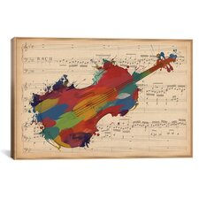 Multi-Color Cello on Music Sheet #2 Graphic Art on Canvas