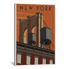 New York Travel Poster Canvas Wall Art by Steve Thomas