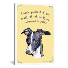 Embarrassed Greyhound Canvas Print Wall Art