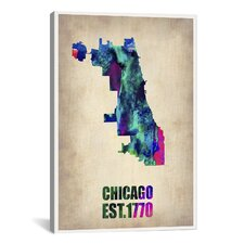 Chicago Watercolor Map Print by Naxart Graphic Art on Canvas
