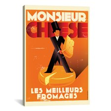 Monsieur Cheese Graphic Art on Canvas
