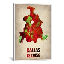 Dallas Watercolor Map by Naxart Graphic Art on Canvas