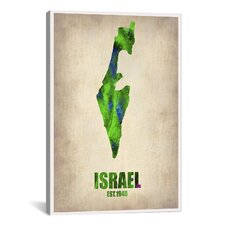 Israel Watercolor Map Print by Naxart Graphic Art on Canvas