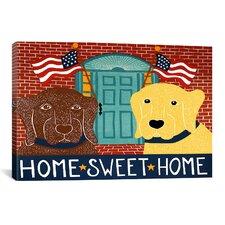 Home Sweet Home Chocolate/Yellow Canvas Print Wall Art