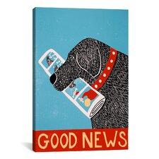 Good News Dog Black Canvas Print Wall Art