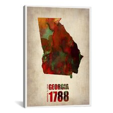 Georgia Watercolor Map by Naxart Graphic Art on Canvas