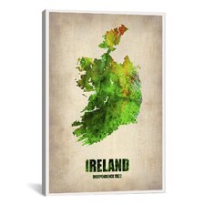 Ireland Watercolor Map by Naxart Graphic Art on Canvas