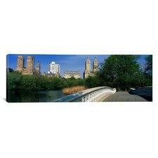 Panoramic Images Bow Bridge, Central Park, Nyc, New York City, New York State, Usa Canvas Print Wall Art