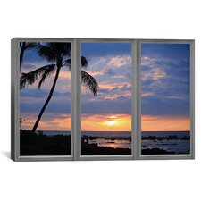 Windows of the World Beach Sunset Window View Canvas Print Wall Art