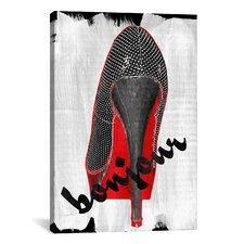 Neon Pop Bonjour Red Bottom Impression Canvas Print Wall Art