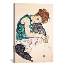 Egon Schiele Seated Woman with Bent Knee II Canvas Print Wall Art