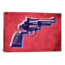 'Revolver (Magnum) on Red' by Michael Thompsett Painting Print on Canvas