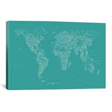 Font World Map by Michael Tompsett Graphic Art on Canvas in Green