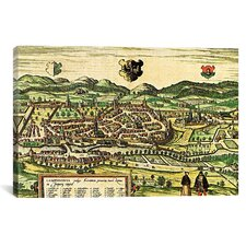 Antique Map of Kempten (1572) by Georg Braun and Franz Hogenberg Graphic Art on Canvas in Color