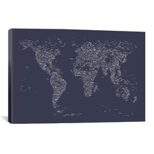 Font World Map by Michael Tompsett Graphic Art on Canvas in Navy Blue