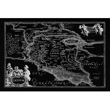 Antique Map of Lazio (Latium) (1949-1960) by Joan Janssonius Graphic Art on Canvas in Black