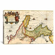 Antique Map of Italy (1649) by Joan Janssonius Graphic Art on Canvas in Beige
