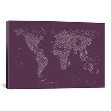 Font World Map by Michael Tompsett Graphic Art on Canvas in Purple