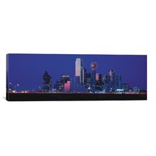 Panoramic Dallas Skyline Cityscape (Night) Photographic Print on Canvas in Night