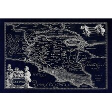 Antique Map of Lazio (Latium) (1949-1960) by Joan Janssonius Graphic Art on Canvas in Negative