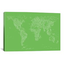 Font World Map by Michael Tompsett Graphic Art on Canvas in Light Green
