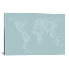 Font World Map by Michael Tompsett Graphic Art on Canvas in Powder Blue