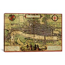 Antique Map of London (1572) by Georg Braun Graphic Art on Canvas in Color