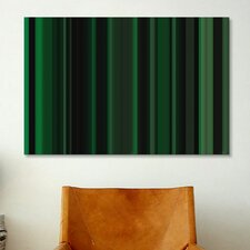 Striped Art Dark Matrix Green Graphic Art on Canvas