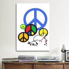 Political Peace Sign Symbol Graphic Art on Canvas