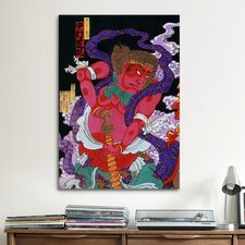 Japanese Art Red Man with Kanabo Woodblock Painting Print on Canvas