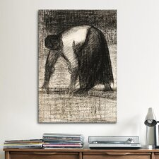 'Paysanne Les Mains Au Sol 1882' by Georges Seurat Painting Print on Canvas
