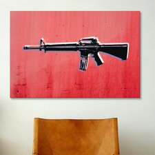 'M16 Assault Rifle on Red' by Michael Tompsett Graphic Art on Canvas