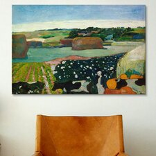 'Haystacks in Brittany' by Paul Gauguin Painting Print on Canvas