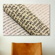 Jewish Hebrew Torah Scripture Textual Art on Canvas