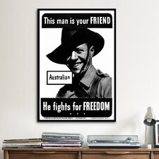 He Fights for Freedom - Australian - WWII Vintage Advertisement on Canvas